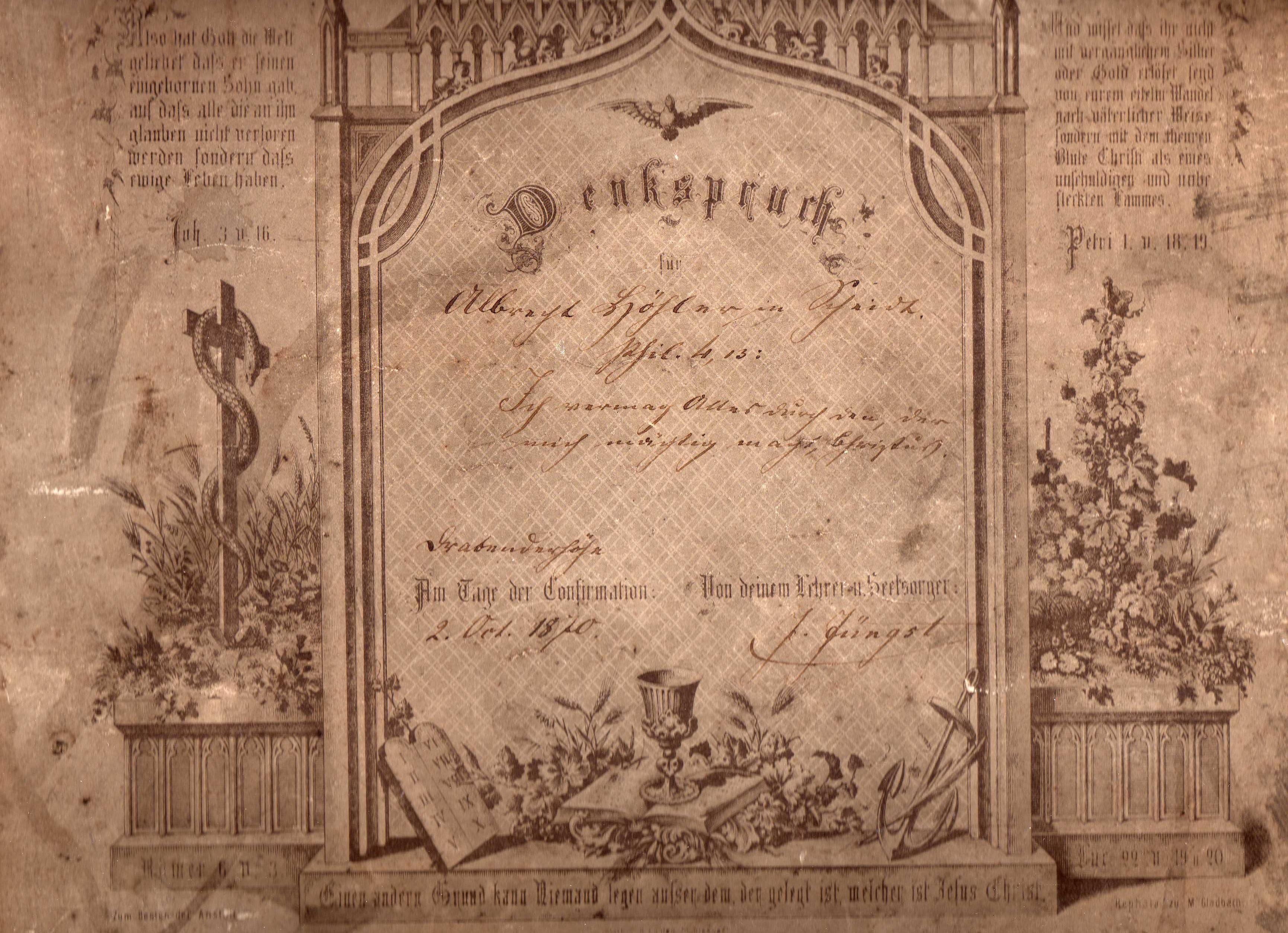 Denkspruch Zur Konfirmation 1870 (Albrecht Höhler)